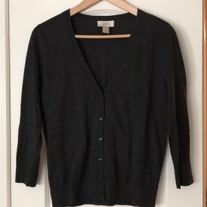 LOFT Charcoal Lightweight Cardigan Small